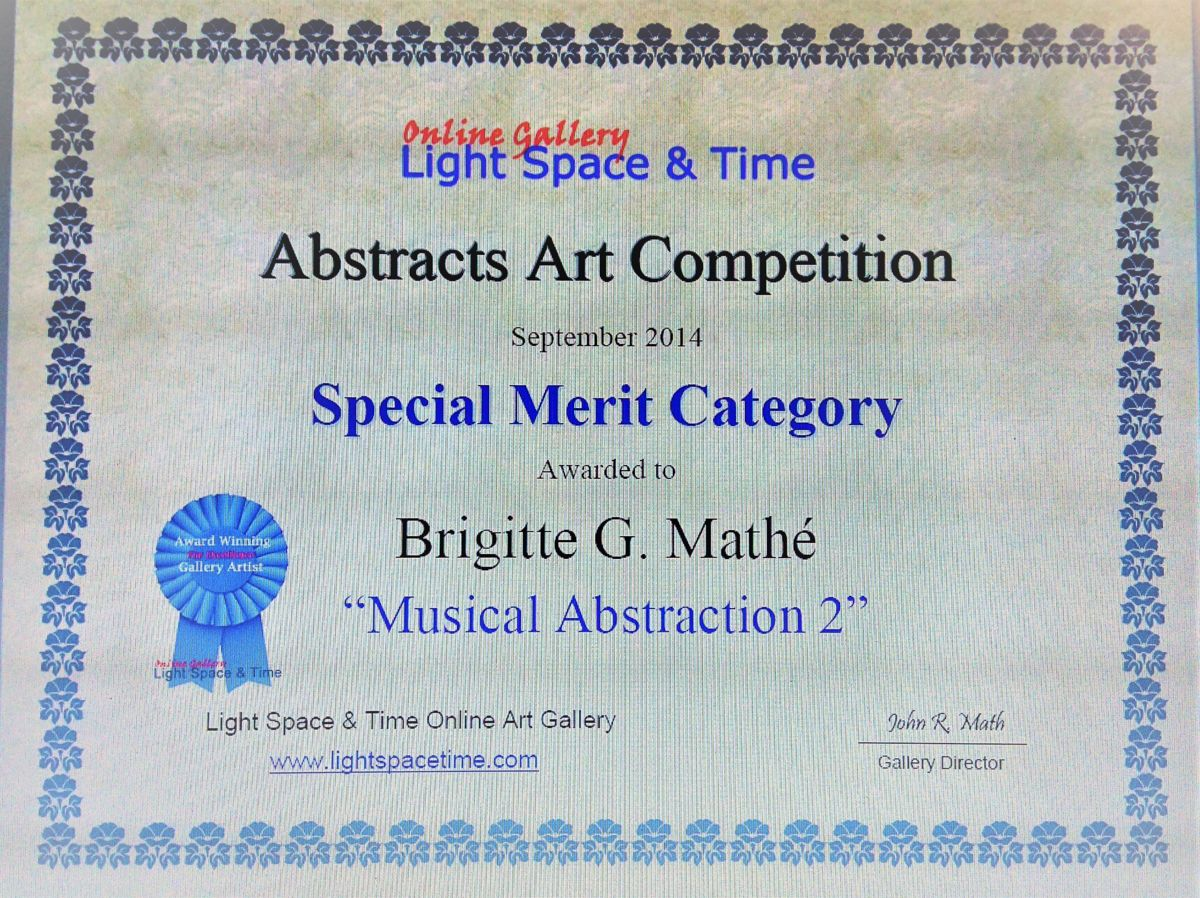 PEINTURE - Special Merit category  for Abstract Art competition - septembre 2014